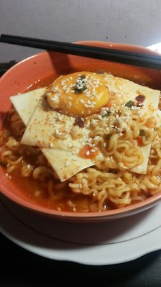 Hot spicy cheese ramen from Indonesia