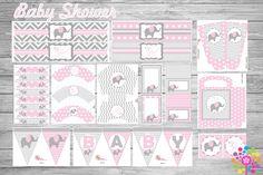 Kit imprimible para Baby Shower Elefante Niña