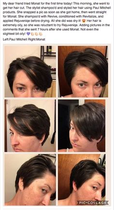 Paul Mitchell (Left) vs Monat (right) She loves the natural ingredients of Monat!!!Not to mention the shine and volume.