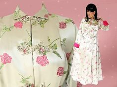 Evening Coat, Satin Brocade Coat, Full Length Formal Coat, Satin Floral Robe, Kimono Robe, 50s Cocktail Coat, Long Floral Dressing Gown by LunaJunctionVintage on Etsy