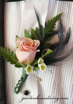 Prom Flower Bling Boutonniere  Peach Rose, Wax flower, fern and a Black Feather with Rhinestones!