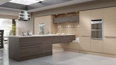 Modern kitchen in a fashionable woograin effect, combining Champagne Avola and Brown Grey Avola.  For more Avola options, please visit http://www.mackintoshkitchens.co.uk/kitchens?category%5B%5D=modern&finish%5B%5D=Woodgrain+Effect
