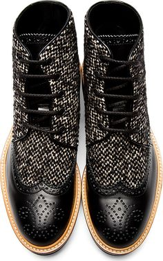 Dsquared2: Black Leather & Tweed Brogued Boots