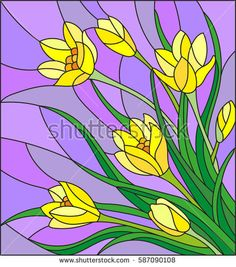Illustration in stained glass style with bouquet of  yellow crocuses  on a purple background i