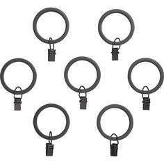 Set of 7 Black Curtain Rings  | Crate and Barrel