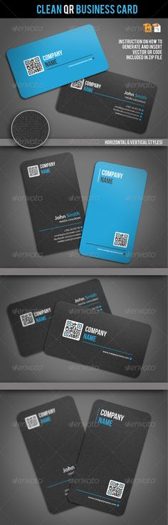 Clean QR Business Card — Vector EPS #stylish #elegant • Available here → https://graphicriver.net/item/clean-qr-business-card/2062604?ref=pxcr
