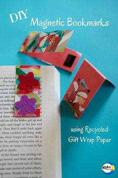 If you have gift wrapping paper scraps, recycle them and try making DIY Magnetic Bookmarks. It's an easy kid-made craft that's useful and practical as well. Magnetic Bookmarks, Bookmarks Kids, Diy Magnets, Handmade Bookmarks, Diy For Kids, Crafts For Kids, Market Day Ideas, Kids Market, Camping Crafts