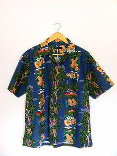 Hawaii printed cotton shirt L rockabilly  w Vintage For Ever  na DaWanda.com Aloha Hawaii, Printed Cotton, Rockabilly, Button Down Shirt, Men Casual, Prints, Mens Tops, Etsy, Vintage