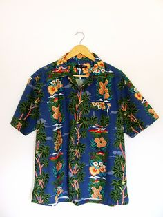 Hawaii printed cotton shirt L rockabilly  w Vintage For Ever  na DaWanda.com