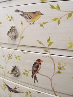 decoupaged birds on chest of drawers by Cottage Hill blog
