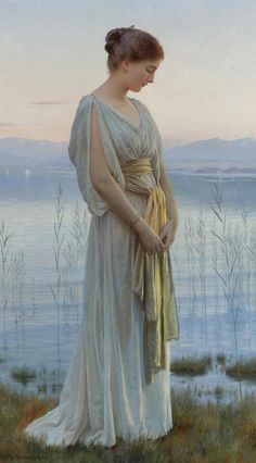 Max Nonnenbruch (1857 - 1922) - EVENING BY THE LAKE