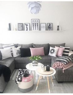 New Living Room Grey Pink White Ideas Living Room Paint, Living Room Grey, Home Living Room, Interior Design Living Room, Living Room Designs, Living Room Decor Ideas Grey, Black White And Grey Living Room, Grey Couch Decor, Pink Couch