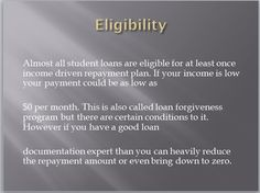 Eligibility for loan repayment