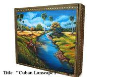"Reduce Price! Cigar Box w/ Artwork ""Landscape II"" on top. Buy 1 get 2nd 20% Off"