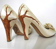 Wedding Shoes fall trees branches leaves carved by norakaren, $265.00