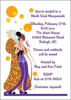 34 Best Mardi Gras Party Invitations Images Invitation Wording