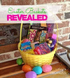 This year I just craved simple.  Basket contents:  Chocolate bunny (hollow) Chewy candy rope Chocolate caramel filled eggs Bubble gum Peeps (yuck! but they look cute) *Band-aids *Lip gloss *Slinky *Fancy pen