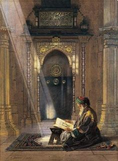 Reading Coran in the Mosque , ottoman palestine , 1869
