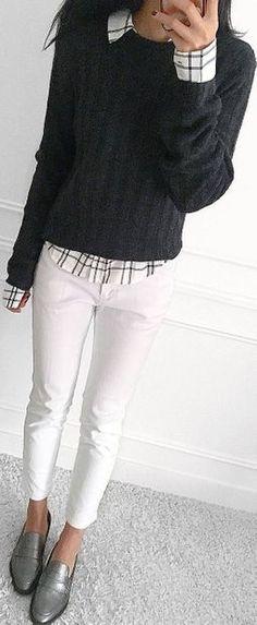 grey sweater plaid button shirt white pants