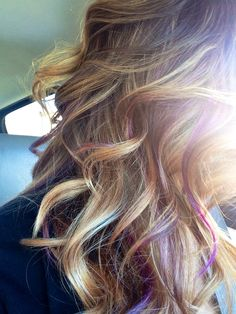Ombre with purple peekaboo - Modern Purple Peekaboo Hair, Purple Hair, Purple Peekaboo Highlights, Peek A Boo, Pastel Hair, Hair Today, Balayage Hair, Hair Dos, Pretty Hairstyles