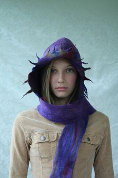 Hoody Scarf hand felt rustic purple with dragon by Adornfeltfinery, $100.00