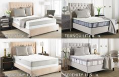 Our Safavieh 4 Mattresses: each comes in 4 different sizes - twin - full- queen - & king! Mattress In A Box, Pillow Top Mattress, Affordable Mattress, Mattress Springs, Cozy Bed, Home Decor Bedroom, Sleep, Indoor, Interior