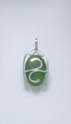 Sea Glass Jewelry - Sterling Caged Large Green Sea Glass Pendant by SignetureLine on Etsy