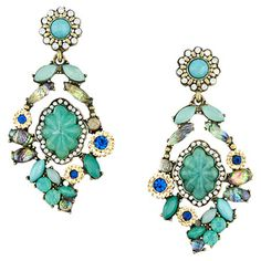 Add a pop of style to evening ensembles and work outfits alike with these stunning 14-karat gold-plated earrings, showcasing an array of teal-hued stones for...