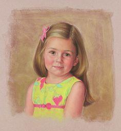 Beautiful head  shoulders pastel portrait of a girl by a Portraits, Inc. artist!