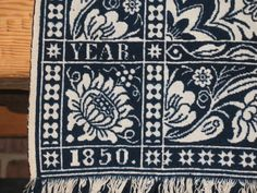 Sara Latourette 1850 Dated Double Jacquard Indigo Coverlet Excellent Condition | eBay