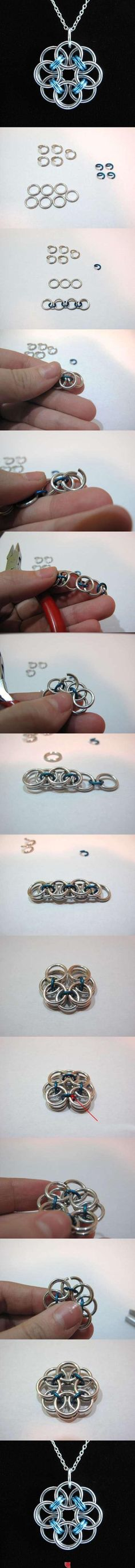 DIY Rose Wire Pendant.  Add chainmaille to the list of things I need to learn to do.  :)