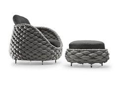 Kenneth Cobonpue tarafından tasarlanan eğlenceli ve şık görünümlü Rapunzel koltuk tasarımı mekanlarınızda özgünlük havası katmaktadır. Çelik iskelet etrafına kumaş kaplamasını hasır gibi işleyerek şık bir görünüm oluşturmaktadır.