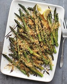 Roasting asparagus at a high temperature concentrates its flavor and guarantees a tender -- but not mushy -- texture. To ensure crunchy crumbs, sprinkle them on just before serving.
