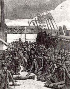 Slaves on the Slave Ship 'Wildfire', avoided Slavery when the ship was seized by the British Navy rerouting the ship to Sierra Leone. (drawing was based on actual photograph taken on the Slave ship Wildfire in Harper's Weekly, June Black History Month, Cuba, Middle Passage, African American History, History Facts, Nasa History, Civil Rights, Black People, Black Art