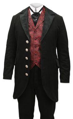 Velvet Trimmed Edwardian Morning Coat - Black [002611]