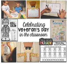 The First Grade Parade: Celebrating Veteran's Day (with Freebies! Veterans Day Activities, Class Activities, Holiday Activities, 1st Grade Centers, November Holidays, School Holidays, Text To Self Connection, First Grade Parade, Remember Day