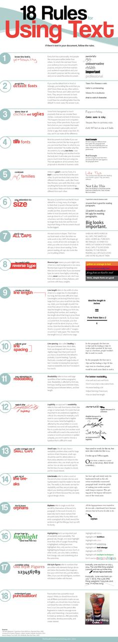 18 reglas para usar texto