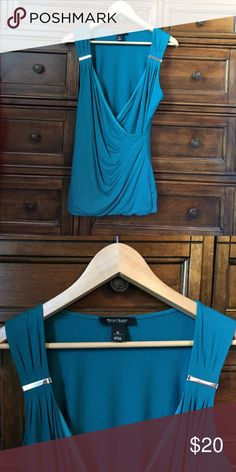 WHBM dressy tank! Excellent condition; washed and worn under 5 times; never dried.  Beautiful teal green/turquoise blue color.   More blue green than in the photo.  Lined and great quality.  Super cute dressed up! White House Black Market Tops Tank Tops