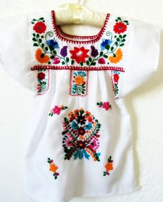 Florecitas del campo Handmade Embroidered  Mexican Children White  Tunic Dress