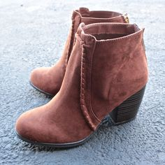 suede crew ankle boots in rust - shophearts - 1