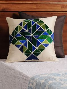 Cream - Green - Blue Chevron Phulkari Embroidered Silk Cushion Cover 16in X 16in