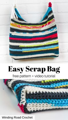 you will love making this rag rug style crochet scrap bag. Pattern by Winding Road Crochet. bags purses pattern How to make a Flat Bottom Bag from a Crochet Rectangle - Winding Road Crochet Market Bag, Crochet Tote, Crochet Handbags, Crochet Purses, Crochet Crafts, Crochet Hooks, Crochet Projects, Free Crochet, Crochet Baskets