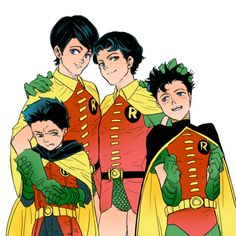 The Robin collection of chihiRomangaart Nightwing, Batgirl, Damian Wayne, Son Of Batman, Batman Robin, Gotham Batman, Batman Art, Tim Drake, Jason Todd