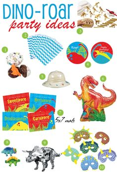 Host a dino-ROAR dinosaur birthday party with these fun favor and decoration ideas! | curated at thecelebrationshoppe.com #dinosaur #party #redblue