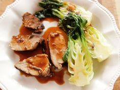 Get Ree Drummond's Grilled Pork Tenderloin with Baby Bok Choy Recipe from Food Network