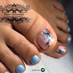 Blue Flower Nail Art Design ❤ 48 Toe Nail Designs To Keep Up With Trends ❤ S… - ly. Pretty Toe Nails, Cute Toe Nails, My Nails, Pedicure Nail Art, Toe Nail Art, Summer Toe Nails, Feet Nails, Toe Nail Designs, Flower Pedicure Designs
