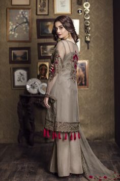 Shadow fleur brown ready to wear dress by Imrozia Premium party wear collection 2018 - Online Shopping in Pakistan Pakistani Wedding Outfits, Pakistani Dresses Casual, Pakistani Dress Design, Indian Dresses, Indian Outfits, Pakistani Fashion Party Wear, Stylish Dresses, Simple Dresses, Fashion Dresses