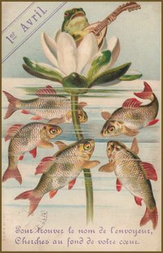 Poisson d'avril /April Fool's Vintage postcard shown at A Little Fur in the Paint.