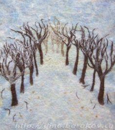 Winter Pathway - Fibre Art ,  Wall Hanging,  Home Decor