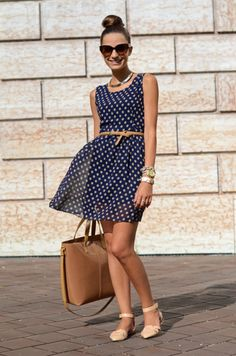 Navy poka dots say: Summer & Classy! Notice the nude shoe.  Say no to a white or navy pump.
